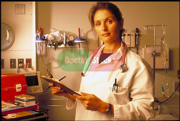 portrait of woman doctor in hospital emergency room