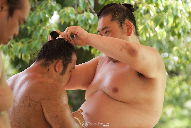Sumo wrestlers of the Minezaki Heya practicing the day before the controversial Nagoya tournament begins.