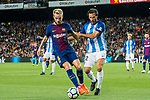 Ivan Rakitic (l) of FC Barcelona fights for the ball with Paul Baysse of Malaga CF during the La Liga 2017-18 match between FC Barcelona and Malaga CF at Camp Nou on 21 October 2017 in Barcelona, Spain. Photo by Vicens Gimenez / Power Sport Images