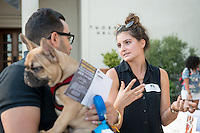 Occidental College student Tess Langseth-DePaolis '16 shares her InternPDX experience working at Oregon Department of Human Services-Child Welfare Division during the Career Development Center's Reverse Career Fair, Thorne Hall patio, Sept. 3, 2015.<br /> (Photo by Marc Campos, Occidental College Photographer)