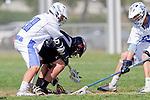 Corona Del Mar, CA 04/06/10 - Taylor Epp (Corona Del Mar #11) and Jack Peterson (Danville/Monte Vista #17) in action during the Corona Del Mar-Danville/Monte Vista lacrosse game.