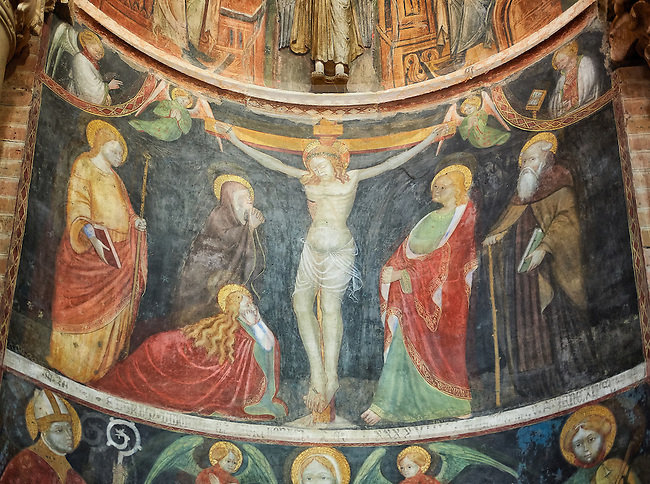 Frescoes depicting the crucifixion on the interior of the Romanesque Baptistery of Parma, circa 1196, (Battistero di Parma), Italy