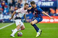 27th October 2019; Estadi Cuitat de Valencia, Valencia, Spain; La Liga Football, Levante versus Espanyol; Sergi Darder of RC Espanyol takes on Borja Mayoral of Levante UD - Editorial Use