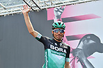 Bora-Hansgrohe at sign on before the start of Stage 13 of the 2019 Giro d'Italia, running 196km from Pinerolo to Ceresole Reale (Lago Serrù), Italy. 24th May 2019<br /> Picture: Massimo Paolone/LaPresse | Cyclefile<br /> <br /> All photos usage must carry mandatory copyright credit (© Cyclefile | Massimo Paolone/LaPresse)