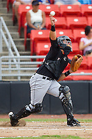 Catcher Kevin Dubler #35 of the Kannapolis Intimidators makes a throw to second base at  L.P. Frans Stadium August 1, 2010, in Hickory, North Carolina.  Photo by Brian Westerholt / Four Seam Images