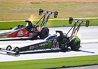 Oct 15, 2017; Ennis, TX, USA; NHRA top fuel driver Brittany Force (near) defeats Doug Kalitta during the Fall Nationals at the Texas Motorplex. Mandatory Credit: Mark J. Rebilas-USA TODAY Sports