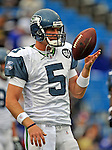 7 September 2008:  Seattle Seahawks' quarterback Charlie Frye warms up prior to a game against the Buffalo Bills at Ralph Wilson Stadium in Orchard Park, NY. The Bills defeated the Seahawks 34-10 in the season opening game...Mandatory Photo Credit: Ed Wolfstein Photo