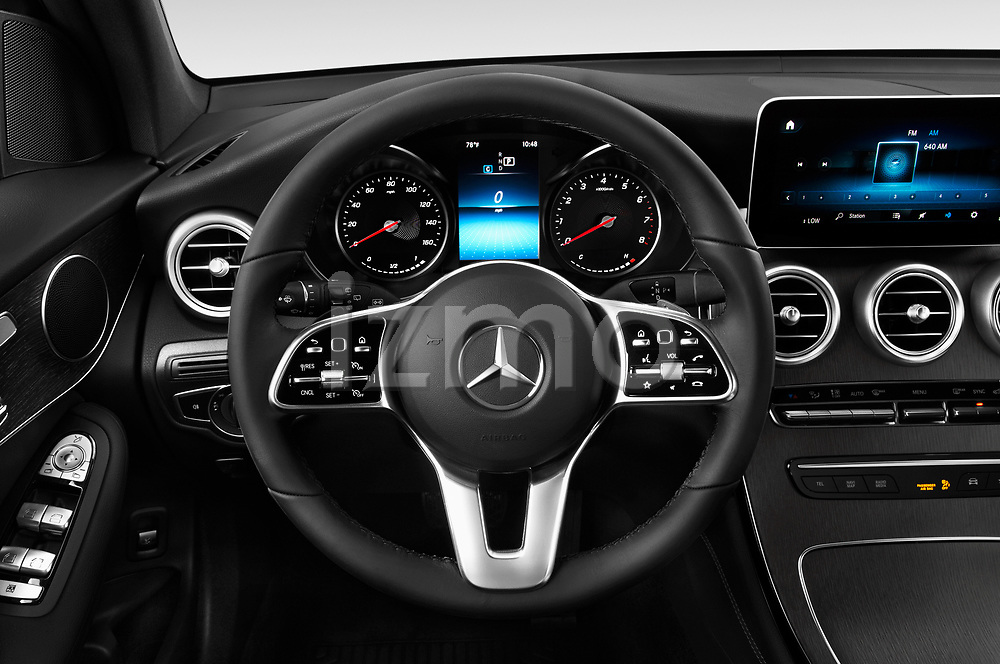 Car pictures of steering wheel view of a 2020 Mercedes Benz GLC-Class GLC300 5 Door SUV Steering Wheel