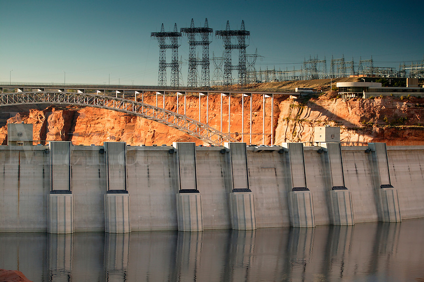 The Glen Canyon Dam creates Lake Powell and the Glen Canyon Recreation Area, Page, Arizona.
