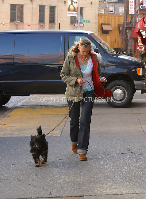 WWW.ACEPIXS.COM . . . . .  ....NEW YORK, APRIL 15, 2005....Daryl Hannah walks the dog on a spring day downtown.....Please byline: PAUL CUNNINGHAM - ACE PICTURES..... *** ***..Ace Pictures, Inc:  ..Craig Ashby (212) 243-8787..e-mail: picturedesk@acepixs.com..web: http://www.acepixs.com