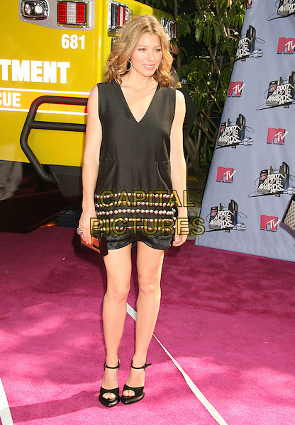 JESSICA BIEL.2007 MTV Movie Awards held at the Gibson Amphitheater, Universal City, California, USA..June 3rd, 2007.full length dress mary janes shoes black sleeveless beads beaded clutch purse .CAP/ADM/RE.©Russ Elliot/AdMedia/Capital Pictures *** Local Caption *** ...