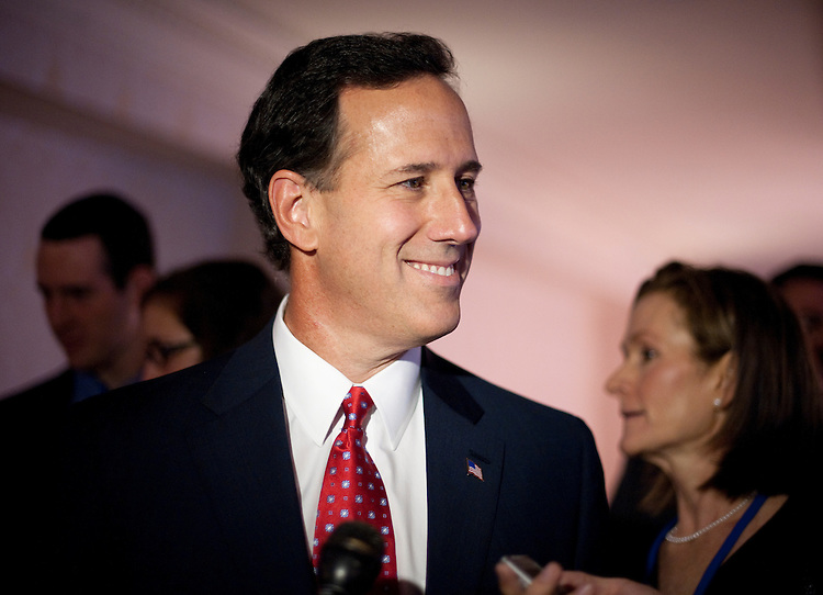 UNITED STATES – OCTOBER 7: Presidential candidate and former Senator Rick Santorum speaks to reporters in the hallway after delivering a speech at the Family Research Council's Values Voter Summit in Washington on Friday, Oct. 7, 2011. (Photo By Bill Clark/CQ Roll Call)