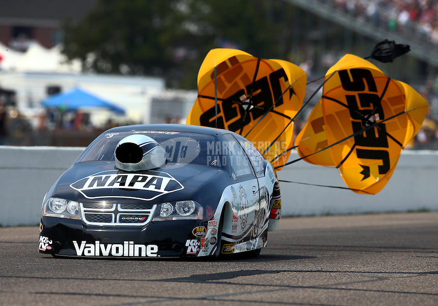 Aug. 18, 2013; Brainerd, MN, USA: NHRA pro stock driver Vincent Nobile during the Lucas Oil Nationals at Brainerd International Raceway. Mandatory Credit: Mark J. Rebilas-