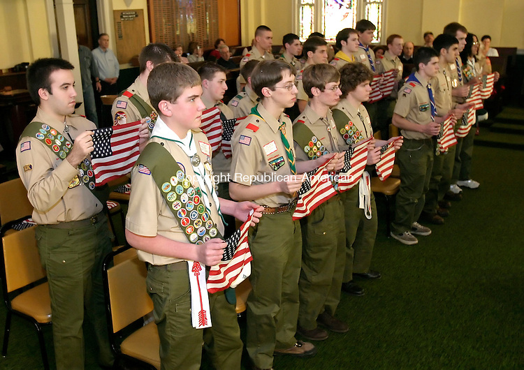 WATERBURY, CT. 28 JANUARY 2006-012806BZ01- Eagle Scouts from the Mad River District take part in the 29th Annual Eagle Scout Class of 2005 Recognition Luncheon held at the Waterbury Lodge of Elks No. 265 Saturday afternoon.  30 Eagle Scouts were recognized during the ceremony.<br />  Jamison C. Bazinet / Republican-American