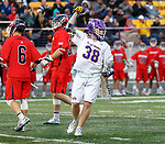 Sean Eccles (#38) celebrates a score as UAlbany Men's Lacrosse defeats Richmond 18-9 on May 12 at Casey Stadium in the NCAA tournament first round.
