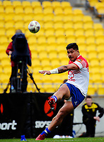James So'oialo kicks for goal during the Heartland Championship rugby match between Horowhenua Kapiti and Wairarapa Bush at Westpac Stadium in Wellington, New Zealand on Sunday, 1 October 2017. Photo: Dave Lintott / lintottphoto.co.nz