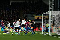 23rd November 2019; Selhurst Park, London, England; English Premier League Football, Crystal Palace versus Liverpool; James Tomkins of Crystal Palace score but the goal is disallowed after a VAR review - Strictly Editorial Use Only. No use with unauthorized audio, video, data, fixture lists, club/league logos or 'live' services. Online in-match use limited to 120 images, no video emulation. No use in betting, games or single club/league/player publications