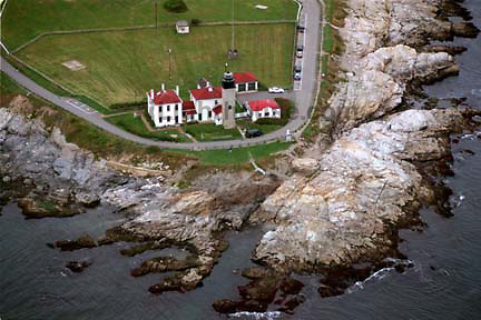 An aerial view of the Beavertail Lighthouse.