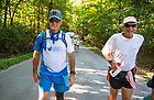 August 18, 2017; Pilgrims begin the 41.4 mile leg of ND Trail on foot on day 5 of ND Trail from Crawfordville to Lafayette, Indiana. As part of the University's 175th anniversary celebration, the Notre Dame Trail will commemorate Father Sorin and the Holy Cross Brothers' journey. A small group of pilgrims will make the entire 300+ mile journey from Vincennes to Notre Dame over  two weeks.(Photo by Barbara Johnston/University of Notre Dame)