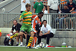 14 May 2010: Tampa Bay's Joe Donoho (15) challenges Carolina's Gregory Richardson (GUY) (right). The FC Tampa Bay Rowdies defeated the Carolina RailHawks 2-1 at WakeMed Stadium in Cary, North Carolina in a regular season U.S. Soccer Division-2 soccer game.
