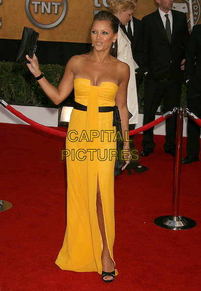 VANESSA WILLIAMS.14th Annual Screen Actors Guild Awards held at the Shrine Auditorium, Los Angeles, California, USA..January 27th, 2008.arrivals SAG full length yellow strapless dress slit split black belt sash clutch bag purse.CAP/ADM/RE.©Russ Elliot/AdMedia/Capital Pictures. *** Local Caption *** .