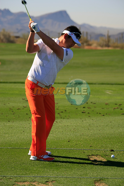 Y.E. Yang (S.KOR) on the practice range before the action starts during Day 3 of the Accenture Match Play Championship from The Ritz-Carlton Golf Club, Dove Mountain, Friday 25th February 2011. (Photo Eoin Clarke/golffile.ie)