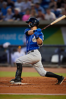 Biloxi Shuckers Max McDowell (4) at bat during a Southern League game against the Pensacola Blue Wahoos on May 3, 2019 at Admiral Fetterman Field in Pensacola, Florida.  Pensacola defeated Biloxi 10-8.  (Mike Janes/Four Seam Images)