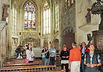 VMI Vincentian Heritage Tour: Members of the Vincentian Mission Institute cohort tour the historic Church of Saint-Jacques-Le-Majeur et Saint-Jean-Baptiste, where Vincent spoke in 1617, a sermon credited for the creation of the Congregation of the Mission. The group also toured the nearby remains of the medieval castle Le château de Folleville, Wednesday, June 22, 2016, in northern France. The manor and castle of Folleville were the property of Philippe Emmanuel de Gondi. Vincent de Paul was the spiritual advisor to Phillippe's wife, Madame de Gondi. (DePaul University/Jamie Moncrief)