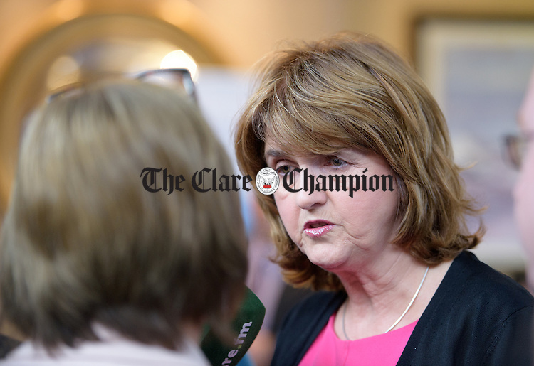 Joan Burton, Tanaiste and Minister for Social Protection is interviewed by the media after she arrives at the Irish Congress of Trade Unions' Biennial Delegate Conference in Treacey's West County Hotel. Photograph by John Kelly.