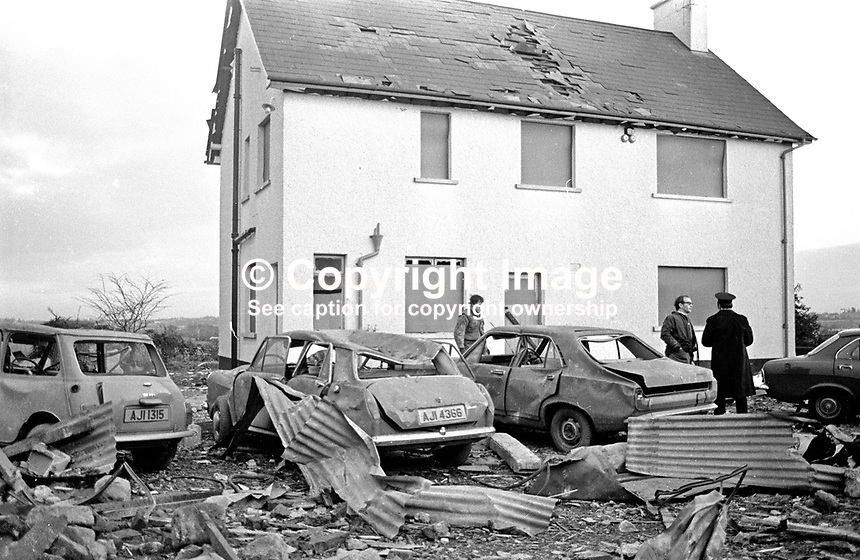 Desertmartin, Co Londonderry, farmhouse where in a premature explosion Charles Logan, Toronto Street, Belfast, described as a major in the UVF, Ulster Volunteer Force, died on 18th November 1973.  The house was owned by a former Ulster Unionist councillor, who along with his wife, were injured in the blast. In a subsequent UVF statement it was stated the couple were being held prisoner and had nothing to do with the explosion. 197311180710c.<br />