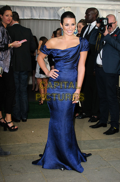 Lea Michele.Women Of The Year 2012 - Glamour Awards, Berkeley Square, London, England..29th May 2012.full length blue off the shoulder dress hand on hip.CAP/CJ.©Chris Joseph/Capital Pictures.