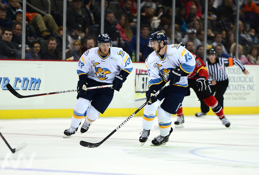 Oct 19, 2012; Toledo, OH, USA; Toledo Walleye left wing Willie Coetzee (15) against the Cincinnati Cyclones at Huntington Center: Mandatory Credit: Andrew Weber