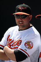 March 8, 2010:  Rhyne Hughes of the Baltimore Orioles during a Spring Training game at Ed Smith Stadium in Sarasota, FL.  Photo By Mike Janes/Four Seam Images