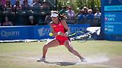 June 18th 2017, Nottingham, England; WTA Aegon Nottingham Open Tennis Tournament day 7 finals day;  Johanna Konta of Great Britain plays a low backhand in the match against Donna Vekic of Croatia