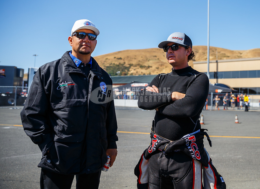 Jul 30, 2017; Sonoma, CA, USA; NHRA funny car driver Robert Hight (left) and top fuel driver Steve Torrence during the Sonoma Nationals at Sonoma Raceway. Mandatory Credit: Mark J. Rebilas-USA TODAY Sports