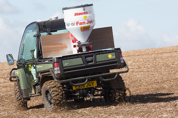 Applying slug pellets to Winter Wheat<br /> Picture Tim Scrivener 07850 303986<br /> tim@agriphoto.com<br /> &hellip;.covering agriculture in the UK&hellip;.