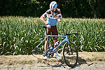 Mechanical for Matthias Frank (SUI) AG2R La Mondiale on one of the cobbled sections during Stage 9 of the 2018 Tour de France running 156.5km from Arras Citadelle to Roubaix, France. 15th July 2018. <br /> Picture: ASO/Pauline Ballet | Cyclefile<br /> All photos usage must carry mandatory copyright credit (© Cyclefile | ASO/Pauline Ballet)