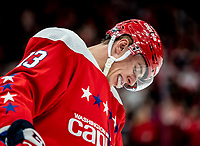 WASHINGTON, DC - JANUARY 31: Jakub Vrana #13 of the Washington Capitals  during a pause in the game during a game between New York Islanders and Washington Capitals at Capital One Arena on January 31, 2020 in Washington, DC.