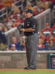 20 September 2013: MLB Umpire Brian O'Nora stands at home plate during a game between the Miami Marlins and the Washington Nationals at Nationals Park in Washington, DC. The Nationals defeated the Marlins 8-0 to take the second game of their 4-game series. Mandatory Credit: Ed Wolfstein Photo *** RAW (NEF) Image File Available ***
