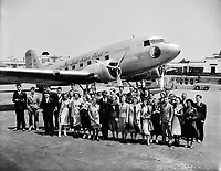 National Airmail Week essay contest winners at Washington Airport, May 1938.<br /> <br /> Photo by Harris & Ewing.
