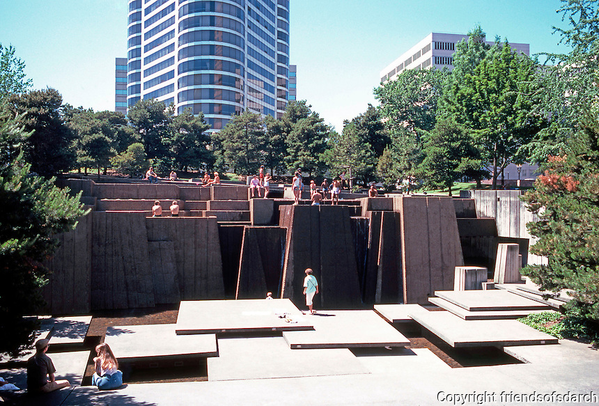 Portland: Ira C. Keller (foreground) Fountain facing 3rd. Designed by Angela Danadjieva of Lawrence Halprin & Assoc. Finished 1970.