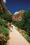 UT: Utah; Zion National Park, Hike, hiking along the Virgin River      .Photo Copyright: Lee Foster, lee@fostertravel.com, www.fostertravel.com, (510) 549-2202.Image: utzion216
