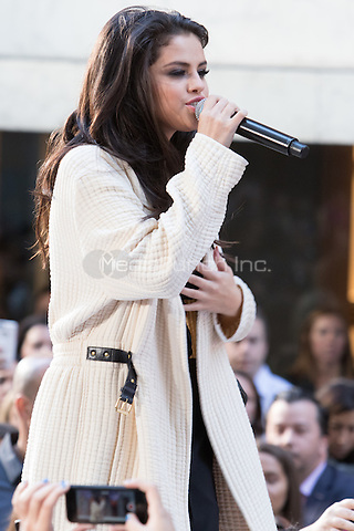 NEW YORK, NY - OCTOBER 12: Selena Gomez performs on NBC's Today Show at Rockefeller Center in New York City on October 12, 2015. Credit: Abel Fermin/MediaPunch