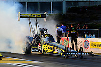 May 18, 2012; Topeka, KS, USA: NHRA top fuel dragster driver Morgan Lucas during qualifying for the Summer Nationals at Heartland Park Topeka. Mandatory Credit: Mark J. Rebilas-
