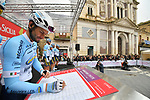 Delko Marseilles Provence KTM team at sign on before the start of Stage 3 of Il Giro di Sicilia running 186km from Caltanissetta to Ragusa, Italy. 5th April 2019.<br /> Picture: LaPresse/Massimo Paolone | Cyclefile<br /> <br /> <br /> All photos usage must carry mandatory copyright credit (&copy; Cyclefile | LaPresse/Massimo Paolone)
