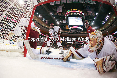 Brian Dumoulin (BC - 2), Michael Biega (Harvard - 27), Jimmy Hayes (BC - 10), Alex Killorn (Harvard - 19), John Muse (BC - 1), Brian Dumoulin (BC - 2) - The Boston College Eagles defeated the Harvard University Crimson 6-0 on Monday, February 1, 2010, in the first round of the 2010 Beanpot at the TD Garden in Boston, Massachusetts.