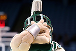 25 March 2014: MSU's mascot holds his hand over his face. The University of North Carolina Tar Heels played the Michigan State University Spartans in an NCAA Division I Women's Basketball Tournament First Round game at Cameron Indoor Stadium in Durham, North Carolina. UNC won the game 62-53.