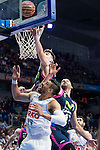 Estudiantes's players Juancho Hernangomez and Xavi Rey and Real Madrid's player Gustavo Ayon during La Liga Endesa at Barclaycard Center in Madrid, February 07, 2016<br /> (ALTERPHOTOS/BorjaB.Hojas)