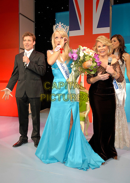 RACHEL TENNANT (Miss Aberdeen) is crowned Miss Great Britain 2007.L-R, BEN SHEPHERD, RACHEL TENNANT, JOAN RIVERS & PREETI DESAI.At the Miss Great Britain 2007 Grand Final,.Grosvenor House Hotel, Park Lane, London, England, .May 21st 2007..full length long blue dress winner flowers hand crying crown tiara.CAP/FIN.©Steve Finn/Capital Pictures.