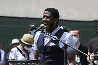 NEW YORK, NEW YORK - JUNE 04: New York City Public Advocate Jumaane Williams speaks as People Gather in Cadman Plaza For a memorial service demonstrating the death of George Floyd on June 4, 2020 in Brooklyn, New York. Floyd's death, the most recent in a series of deaths of black Americans at the hands of the police, has set off days and nights of protests across the country. (Photo by Pablo Monsalve / VIEWpress via Getty Images)
